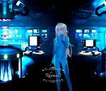 1girl blonde_hair blue_bodysuit blue_eyes bodysuit computer costume dark holding long_hair messy_hair new_game! open_mouth rhosavior science_fiction smile solo standing very_long_hair yagami_kou