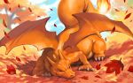 blue_sky charizard closed_eyes closed_mouth day gen_1_pokemon leaf lying making-of_available maple_leaf nishimawari_kouro no_humans on_stomach outdoors pokemon pokemon_(creature) sky smile solo