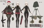 1girl ahoge ak-74m ak-74m_(girls_frontline)_(rabochicken) arrow_(symbol) assault_rifle beret black_legwear blonde_hair blue_eyes boots cape character_sheet dagger english_text fingerless_gloves girls_frontline gloves gun hair_ornament hat highres holster knee_boots load_bearing_equipment long_hair magazine_(weapon) original pantyhose pouch rifle russian_flag sheath simple_background single_knee_pad snowflake_hair_ornament translated weapon yakob_labo