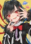 1girl adapted_costume asymmetrical_wings bangs black_dress black_hair blue_wings bow bowtie commentary dress fangs hands_up highres houjuu_nue long_sleeves looking_at_viewer makita_(vector1525) medium_hair open_mouth red_nails red_neckwear red_wings ribbon simple_background smile solo star_(symbol) touhou ufo upper_body white_ribbon wings yellow_background