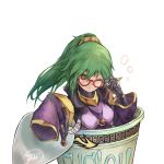 1girl adjusting_eyewear bangs breasts cup duel_monster el_shaddoll_winda eyebrows_visible_through_hair gishihi glasses green_eyes green_hair hair_tie highres in_container in_cup instant_fusion joints long_hair mechanical_hand one_eye_closed ponytail price_tag ramen signature sleeves_past_wrists solo upper_body white_background wide_sleeves winda_priestess_of_gusto yu-gi-oh!