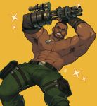 1boy abs absurdres alejandro_tio amputee armpit_hair armpits bara bare_chest barret_wallace beard belt bulge camouflage camouflage_pants chest chest_hair dark_skin dark_skinned_male dynamic_pose facial_hair feet_out_of_frame fighting_stance final_fantasy final_fantasy_vii green_pants harness highres leaning_back male_focus manly muscle navel nipples pants short_hair solo thick_thighs thighs tight tight_pants
