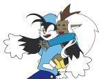 1boy 1girl bandai_namco blue_headwear blue_pants blue_shirt carrot carrying closed_eyes eyebrows kaze_no_klonoa klonoa long_hair one_eye_closed piggyback ryo-ohki tenchi_muyou! yellow_eyes zipper