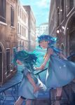 2girls :d :o ahoge akari_(shichigatsu) bike_shorts blue_hair building canal closed_eyes coat colored_eyelashes day dress eyebrows_visible_through_hair fang from_side green_hair highres holding_hands hood long_hair multiple_girls neckerchief open_hand open_mouth original outdoors outstretched_arms pointy_ears profile railing scenery shichigatsu short_hair sideways_mouth smile sou_(shichigatsu) spread_arms stairs walking water white_coat white_dress window yellow_eyes yellow_neckwear