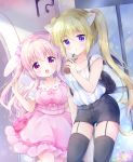 2girls animal_ears bag black_legwear black_shorts blue_eyes blush bow breasts cat_ears cat_tail chiika_(cure_cherish) collared_dress cup demon_wings disposable_cup dress drinking_straw garter_straps hair_bow handbag holding holding_cup large_breasts long_hair looking_at_viewer medium_breasts multiple_girls open_mouth original parted_lips pink_bow pink_dress pink_eyes pink_hair puffy_short_sleeves puffy_sleeves rabbit_ears short_shorts short_sleeves shorts sidelocks tail thigh-highs twintails two_side_up wings