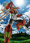 axe flying garimpeiro getter_arc getter_robo getter_robo_arc glowing glowing_eyes highres holding holding_axe looking_down mecha no_humans solo sun super_robot yellow_eyes