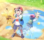1boy artist_name ash_ketchum backpack bag bangs black_hair brown_eyes commentary_request day different_reflection gen_1_pokemon grass highres holding holding_pokemon jacket mei_(maysroom) open_mouth outdoors path pikachu pokemon pokemon_(anime) pokemon_(classic_anime) pokemon_(creature) pokemon_swsh_(anime) reflection shirt shoes short_sleeves shorts smile teeth tongue watermark white_shirt
