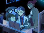 1boy 1girl atsumi_yoshioka computer gen_1_pokemon gen_2_pokemon james_(pokemon) jessie_(pokemon) meowth pokemon pokemon_(anime) team_rocket wobbuffet