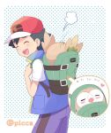 1boy :d artist_name ash_ketchum bangs baseball_cap black_hair closed_eyes commentary_request gen_7_pokemon hat heart jacket mei_(maysroom) motion_lines open_mouth pokemon pokemon_(anime) pokemon_(creature) pokemon_swsh_(anime) rowlet shirt short_sleeves smile teeth tongue watermark white_shirt