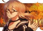 1girl artoria_pendragon_(all) autumn blonde_hair blush braid choker collarbone eyebrows_visible_through_hair fate/grand_order fate_(series) hair_between_eyes hood hoodie kosumi looking_at_viewer marker_(medium) mysterious_heroine_x_(alter) semi-rimless_eyewear solo traditional_media wind yellow_eyes
