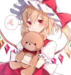 +_+ 1girl back_bow blonde_hair blush bow commentary_request crossed_arms crystal dutch_angle eyebrows_visible_through_hair flandre_scarlet frown glint hat hat_bow highres holding holding_stuffed_toy looking_at_viewer mob_cap one_side_up plaid plaid_bow plaid_neckwear puffy_short_sleeves puffy_sleeves red_bow red_eyes red_skirt red_vest short_hair short_sleeves simple_background skirt solo spoken_squiggle squiggle stuffed_animal stuffed_toy symbol_commentary teddy_bear touhou upper_body vest white_background wings yurui_tuhu