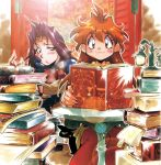 2girls :t araizumi_rui black_cat blue_eyes blush book book_stack cat chin_rest circlet holding holding_book lantern lens_flare lina_inverse long_hair multiple_girls naga_the_serpent official_art open_book purple_hair red_eyes redhead scroll sitting slayers smile table too_many