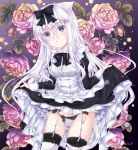 1girl animal_ears ass_visible_through_thighs bangs black_bow bow bowtie cat_ears cat_tail eyebrows_visible_through_hair flower frilled_shirt_collar frills garter_straps highres lace-trimmed_legwear lace_trim lifted_by_self long_hair long_sleeves maid_dress original panties parted_lips rose sidelocks sleeve_cuffs solo star_(symbol) string_panties tail thigh-highs underwear violet_eyes white_hair white_legwear white_panties yoizuki_mashiro