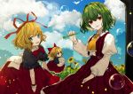3girls absurdres back_bow black_shirt blonde_hair blue_eyes bow bowtie bubble bubble_blowing clouds commentary cowboy_shot daimaou_ruaeru day field flower flower_field garden_of_the_sun green_hair hair_ribbon hand_up highres holding juliet_sleeves kazami_yuuka long_sleeves looking_at_viewer medicine_melancholy multiple_girls open_mouth outdoors pinky_out plaid plaid_skirt plaid_vest puffy_sleeves red_eyes red_neckwear red_ribbon red_skirt red_vest ribbon shirt short_hair short_sleeves skirt smile su-san sunflower touhou tree vest white_bow white_shirt yellow_neckwear