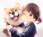1girl animal animal_hug bangs blush bow brown_eyes brown_hair cheek-to-cheek closed_mouth clothed_animal collarbone commentary_request dog food_themed_hair_ornament gradient gradient_background grey_background hair_ornament holding holding_animal hug kuga_tsukasa long_sleeves one_eye_closed one_side_up original polka_dot polka_dot_bow raspberry_hair_ornament red_bow sailor_collar school_uniform serafuku shiba_inu shirt short_hair smile solo tongue upper_body white_background