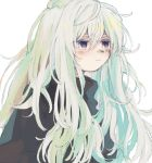 1girl black_sweater closed_mouth green_hair hair_between_eyes ka_(marukogedago) long_hair meso original simple_background solo sweater upper_body violet_eyes white_background