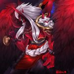 1boy aatrox absurdres armor bead_bracelet beads belt black_sclera blue_eyes bracelet claws demon_boy feathered_wings feathers glowing greatsword highres holding holding_sword holding_weapon horns jewelry league_of_legends long_hair male_focus open_mouth outspire over_shoulder pauldrons pointy_ears red_skin red_wings rope_belt shirtless shoulder_armor signature single_pauldron smile solo sword sword_over_shoulder teeth twitter_username weapon weapon_over_shoulder white_hair wings