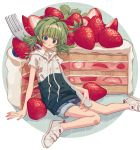 1girl :p arm_support blue_eyes blue_shorts blush closed_mouth fingernails food fork fruit green_hair highres holding holding_fork hood hood_down hoodie ka_(marukogedago) knees_together_feet_apart looking_at_viewer low_twintails minigirl original shoes short_sleeves shorts solo strawberry strawberry_shortcake tongue tongue_out twintails white_footwear