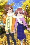 2girls absurdres autumn_leaves bangs black_footwear black_legwear blue_skirt blue_sky bow brown_eyes brown_hair closed_mouth day eyebrows_visible_through_hair flower green_skirt hair_between_eyes hair_bow hair_flower hair_ornament head_tilt high-waist_skirt highres hiyamizu_yukie holding holding_hands holding_leaf index_finger_raised jacket leaf long_hair long_skirt long_sleeves mary_janes megami miniskirt misaka_mikoto multiple_girls open_clothes open_jacket outdoors pencil_skirt plaid plaid_skirt print_shirt purple_sweater scarf shared_scarf shiny shiny_hair shirai_kuroko shirt shoes short_hair skirt sky smile sweater thigh-highs to_aru_kagaku_no_railgun to_aru_majutsu_no_index twintails white_bow white_flower white_legwear white_scarf yuri zettai_ryouiki