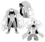 1boy abs absurdres arms_up begging belt coat crack extra_arms extra_eyes fingernails geee529 greyscale hatching_(texture) highres male_focus monochrome muscle original shaded_face simple_background solo standing torn torn_clothes torn_coat veins white_background