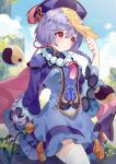 1girl absurdres beads blurry blurry_background blush breasts chinese_clothes commentary_request genshin_impact hair_between_eyes hat highres landscape long_braid looking_at_viewer prayer_beads purple_hair qiqi red_eyes sky solo talisman yin_yang_orb