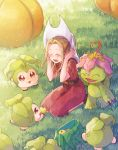 1girl :d blush brown_hair closed_eyes day digimon digimon_adventure dress hair_intakes hat konagonana open_mouth outdoors palmon red_dress short_hair_with_long_locks short_sleeves smile tachikawa_mimi tanemon white_headwear