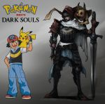 absurdres arm_at_side arm_up armor armored_boots artist_name ash_ketchum belt black_footwear black_hair blue_pants boots brown_belt cape chosen_undead commentary copyright_name creature crossover dark_souls gen_1_pokemon gradient gradient_background grey_background hand_on_hip hat helm helmet highres holding holding_sword holding_weapon male_focus neytirix on_shoulder pants pauldrons pikachu poke_ball_print pokemon pokemon_(creature) pokemon_on_shoulder red_footwear shoes shoulder_armor souls_(from_software) sword torn_cape torn_clothes weapon white_cape