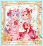 2girls absurdres ascot bangs bat_wings black_wings blonde_hair blouse blue_hair blush bow brooch collar commentary_request english_text fang flandre_scarlet followers frilled_collar frilled_skirt frilled_sleeves frills frown hakurei_reimu hand_on_own_face hat hat_bow highres holding holding_brush hong_meiling izayoi_sakuya jewelry kirisame_marisa kneeling koakuma medium_hair medium_skirt mob_cap moko_(mokochisa) multiple_girls open_mouth paintbrush painting patchouli_knowledge pink_blouse pink_headwear pink_skirt red_blouse red_eyes red_neckwear red_skirt remilia_scarlet short_hair siblings side_ponytail sisters skin_fang skirt skirt_set thank_you touhou white_headwear wings yellow_neckwear