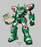 anhdang artist_name box commentary doughnut english_commentary food green_theme grey_background holding holding_box krispy_kreme looking_at_viewer mecha megazord mighty_morphin_power_rangers no_humans original power_rangers signature simple_background