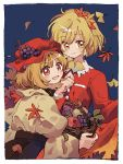 2girls aki_minoriko aki_shizuha anime_coloring apple autumn_leaves basket black_skirt blonde_hair blue_background dress falling_leaves food fruit ginkgo_leaf grapes hair_ornament hat holding holding_basket holding_leaf ka_(marukogedago) leaf leaf_hair_ornament long_sleeves looking_at_viewer mob_cap multiple_girls open_mouth red_dress red_eyes red_headwear shirt short_hair siblings sisters skirt skirt_hold smile touhou yellow_eyes