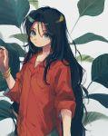 1girl black_hair bracelet breast_pocket fingernails green_eyes hand_up highres jewelry ka_(marukogedago) long_hair looking_at_viewer original parted_lips pocket red_shirt shirt solo upper_body very_long_hair
