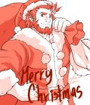1boy alternate_costume beard christmas coat facial_hair fate/grand_order fate/zero fate_(series) fur-trimmed_coat fur_trim gift_bag hair_ornament hand_on_hip hat highres iskandar_(fate) leaf_hair_ornament looking_at_viewer male_focus merry_christmas muscle partially_colored red_eyes redhead rubicon-emperor santa_costume santa_hat short_hair smile upper_body