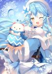 1girl :d bangs belt blue_hair blue_neckwear blue_skirt blush bow bowtie braid breast_squeeze breasts center_frills daifuku_(yukihana_lamy) flower frills fur_trim hair_flower hair_ornament hololive large_breasts light_blue_hair lily_(flower) looking_at_viewer mizuno_kurage nail_polish one_eye_closed open_mouth pleated_skirt pointy_ears scarf skirt sleeveless smile snowflakes upper_body upper_teeth virtual_youtuber white_flower yellow_eyes yukihana_lamy