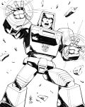 1boy absurdres autobot casey_w._coller english_commentary highres lineart mecha monochrome no_humans open_hands open_mouth solo standing transformers white_eyes windcharger