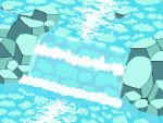animated animated_gif aqua_theme caustics kawawagi leaf no_humans original pixel_art river rock scenery sunlight