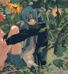 1girl barefoot black_jacket blue_eyes blue_hair blue_shorts closed_mouth flower from_side highres jacket ka_(marukogedago) leg_hug long_hair long_sleeves looking_at_viewer looking_to_the_side open_clothes open_jacket original shirt shorts sitting solo white_shirt yellow_flower