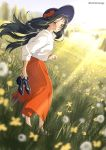 1girl anime_coloring artist_name barefoot black_hair blue_footwear blue_headwear blurry blurry_background blurry_foreground bow brown_eyes commentary_request dandelion day depth_of_field field flower flower_field from_side full_body grass grin hat hat_bow hat_ribbon holding holding_shoes ichimirenge long_hair long_skirt long_sleeves looking_at_viewer looking_back nature original outdoors pleated_skirt red_bow red_ribbon red_skirt ribbon scenery shirt shirt_tucked_in shoes shoes_removed shy skirt smile solo spring_(season) standing sun_hat sunlight tree twitter_username white_shirt wind