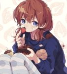 1girl blue_legwear blue_sweater brown_hair cake cake_slice chocolate_cake closed_mouth expressionless food food_on_face fruit fruit_background hand_up holding holding_food holding_fruit ka_(marukogedago) looking_at_viewer low_twintails medium_hair original pantyhose sitting solo strawberry striped striped_legwear sweater twintails violet_eyes