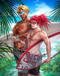 2boys abs alternate_costume bangs bara bare_chest beach beowulf_(fate/grand_order) black_eyes blonde_hair carrying_under_arm chest chinese_clothes fate/grand_order fate_(series) feet_out_of_frame highres holding holding_surfboard li_shuwen_(fate) long_hair male_swimwear multiple_boys muscle navel nipples parted_bangs plant ponytail red_eyes redhead renga2250 scar shell shirtless short_hair spiky_hair sunglasses surfboard swim_briefs swimwear toned toned_male tree