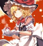 1girl apron artist_name back_bow bangs black_headwear black_vest blonde_hair blush bow bowtie crossed_bangs cup dutch_angle frilled_hat frilled_shirt_collar frills gloves hat hat_bow highres holding holding_cup holding_saucer jill_07km kirisame_marisa looking_at_viewer parted_lips puffy_short_sleeves puffy_sleeves red_bow saucer short_hair short_sleeves solo star_(symbol) steam teacup touhou upper_body vest wavy_hair white_bow white_gloves witch_hat yellow_eyes yin_yang