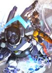 1boy 1girl ass brown_hair degarashi_(ponkotsu) glasses gorilla gun highres holding holding_gun holding_weapon looking_back open_mouth overwatch short_hair tracer_(overwatch) visor weapon winston_(overwatch) yellow_eyes