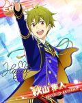 akiyama_hayato blue_eyes character_name dress green_hair idolmaster idolmaster_side-m short_hair smile