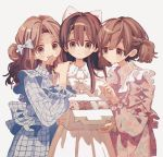 3girls bangs blue_bow blue_dress bow box braid brown_eyes brown_hair doughnut dress expressionless food frilled_dress frilled_sleeves frills hair_between_eyes hair_bow highres holding holding_box holding_food ka_(marukogedago) long_hair long_sleeves looking_at_viewer medium_hair multiple_girls open_mouth original pastry_box pink_dress simple_background smile upper_body white_background white_bow white_dress