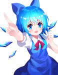 1girl :d arm_up bangs blue_bow blue_dress blue_eyes blue_hair blue_wings blush bow cirno collared_shirt detached_wings dress eyebrows_visible_through_hair hair_between_eyes hair_bow highres ice ice_wings looking_at_viewer open_mouth outstretched_arm pointing puffy_short_sleeves puffy_sleeves red_bow shirt short_sleeves simple_background sleeveless sleeveless_dress smile solo touhou v-shaped_eyebrows white_background white_shirt wings yuujin_(yuzinn333)