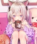 1girl :o agnamore animal animal_ears bangs bare_shoulders black_bow blush bow cat collarbone commentary_request couch cup dress eyebrows_behind_hair fang feet_out_of_frame grey_hair hair_between_eyes hair_bow hands_up holding holding_cup jacket knees_up korean_commentary mug off_shoulder on_couch open_clothes open_jacket original parted_lips purple_jacket red_bow sitting sleeveless sleeveless_dress solo strap_slip stuffed_animal stuffed_toy teddy_bear two_side_up violet_eyes white_dress