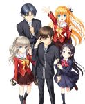 2boys 3girls arm_up bangs black_legwear black_pants black_ribbon black_shirt black_skirt blonde_hair blue_eyes bow brown_eyes brown_hair brown_skirt camcorder camera charlotte_(anime) collarbone dress_shirt earphones eyebrows_visible_through_hair floating_hair from_above glasses grey_hair hair_between_eyes hair_ribbon highres holding holding_camera hoshinoumi_academy_uniform kneehighs long_hair long_sleeves looking_at_viewer miniskirt multiple_boys multiple_girls na-ga nishimori_yusa official_art otosaka_ayumi otosaka_yuu pants pink_shirt pleated_skirt ribbon sailor_collar school_uniform shiny shiny_hair shirt short_hair side_ponytail silver_hair simple_background skirt standing standing_on_one_leg takajou_joujirou tomori_nao very_long_hair white_background white_sailor_collar white_shirt yellow_bow