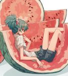 1girl feet_out_of_frame food from_side fruit green_hair grey_shorts hair_ornament hair_scrunchie highres in_food ka_(marukogedago) original parted_lips ponytail reclining red_eyes scrunchie shirt short_sleeves shorts solo striped striped_shirt sweat watermelon watermelon_seeds white_shirt