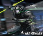 android cape charging_forward copyright_name esuthio glowing glowing_eyes highres holding holding_sword holding_weapon logo looking_ahead no_humans official_art robot science_fiction solo sword trading_card weapon zenonzard