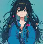 1girl black_hair blue_background blue_jacket bow bright_pupils closed_mouth hair_bow hair_ornament jacket ka_(marukogedago) long_hair looking_at_viewer messy_hair original simple_background smile solo star_(symbol) star_hair_ornament upper_body white_pupils