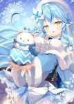 1girl :d bangs belt blue_hair blue_neckwear blue_skirt blush bow bowtie braid breast_squeeze breasts center_frills daifuku_(yukihana_lamy) flower frills fur_trim hair_flower hair_ornament hololive large_breasts light_blue_hair lily_(flower) looking_at_viewer mizuno_kurage nail_polish open_mouth pleated_skirt pointy_ears scarf skirt sleeveless smile snowflakes upper_body virtual_youtuber white_flower yellow_eyes yukihana_lamy